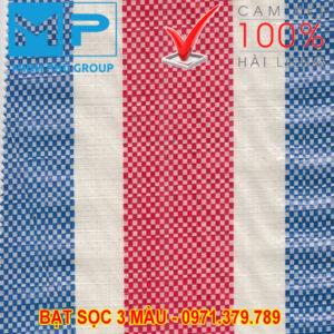 Bạt sọc 3 màu khổ 4mx50m - Bạt sọc Minh Phú - Lh 0971.379.789