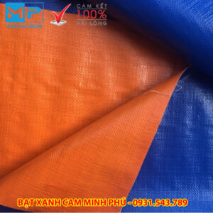 Bạt xanh cam Minh Phú che phủ công trường - Liên hệ đặt hàng 0971.379.789 - 0931.543.789